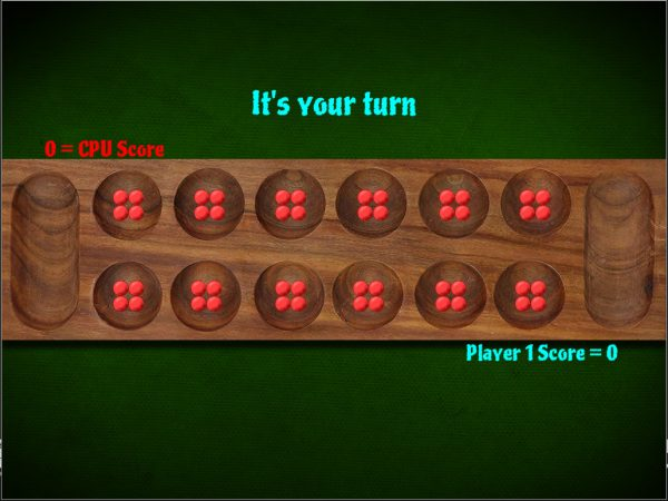 Screenshot of Mancala online game showing the opening board with four stones in each pit.