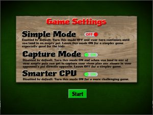 Mancala online settings screen